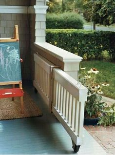 Dog Gate - Porch or deck gate. Perfect for the little ones Porch Gate, Deck Gate, Stair Gate, Porch Roof, Pergola Roof, Deck Stairs, Outdoor Spaces, Outdoor Living, Baby Gates