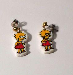 Lisa Simpson Earrings The Simpsons Earrings Jewelry pierced ear Groening vintage retro 90s FREE SHIPPING