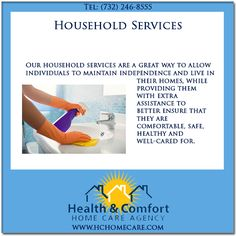 @Health & Comfort Home Care.com, we provide household services in NJ. Household services are available to assist the elderly, disabled, ill, injured or those that can simply use a bit of extra assistance to get them through the day. #hchomecare #homecare #homecareagency in #newjersey #householdservice #householdservices
