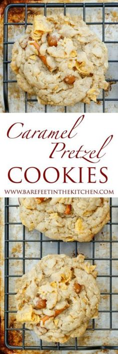 Caramel Pretzel Cookies are a salty sweet treat that no one can resist! get the recipe at barefeetinthekitchen.com