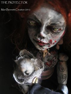 Ooak Gothic Art doll The Protector by maribennettcreations on Etsy, $150.00