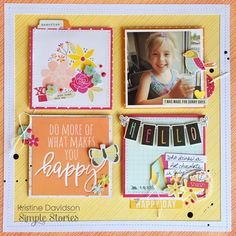 #papercrafting #scrapbooking #layout - Simple Stories Sunshine & Happiness Layout by Kristine Davis ~ Scrapbook.com