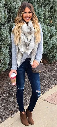 #pretty #winter #outfits / Printed Scarf // Grey Knit // Ripped Skinny Jeans // Camel Ankle Boots