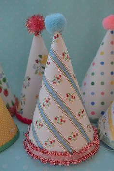 vintage party hats made with wallpaper`