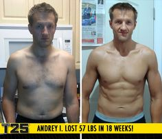 "Andrey I. lost 57 lbs in 18 weeks of Focus T25! (ALPHA, BETA, GAMMA - 2x) Congrats Andrey! Way to #FOCUS!    ""I have more energy, no back pains, and I feel like I can run a full marathon! I feel like I overcame the world! It was my dream to have muscles and a six pack."""
