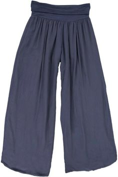 Pull-on palazzo pants in soft viscose. Stretchy roll-down waistband. Double ply. Adjust the length and fit by wearing higher on natural waist or lower on hips. Perfect for travel!      Perfect Palazzo Pant by M made in Italy. Clothing - Bottoms - Pants & Leggings - Flare & Wide Leg Canada