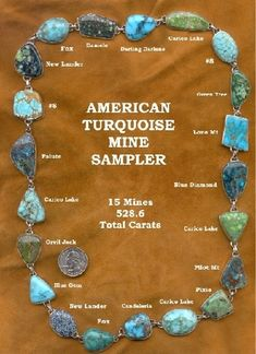 turquoise map united states | comparison of some of amazing colors found in American turquoise.