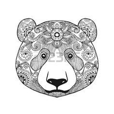 indian bear: Cute panda bear. Black white hand drawn doodle animal. Ethnic…