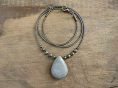 Gray Jasper Drop Necklace, elegant neutral gray drop pendant necklace with iron pyrite accents, Boho Bohemian jewelry on Etsy, $40.00