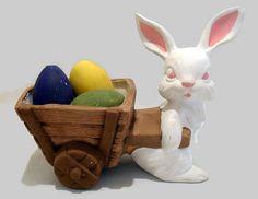 Vintage Ceramic Easter Rabbit Pulling Cart w/Eggs SOLD