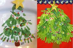 Hand print Christmas Kids Crafts:  Tree,