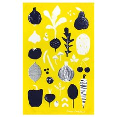 tea towel, towel, tea, vegetables, fruit, screen print, screenprint, louise lockhart, illustration, home, kitchen, design