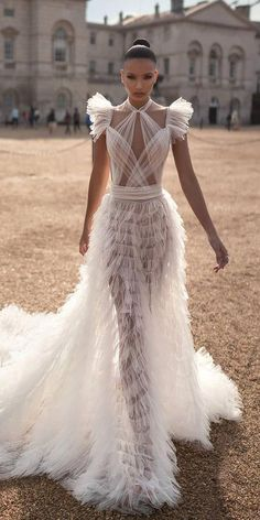 18128c6ca46 wedding dresses fall 2019 sexy ruffled skirt with cap sleeves lior charchy  Romantic Wedding Gowns