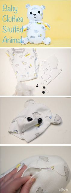 A cute idea for when your kids grow out of their baby clothes. Turn them into stuffed animals so they can enjoy them for years to come. They also make great upcycled and nostalgic gifts! http://www.ehow.com/how_5959912_make-animals-out-baby-clothes.html?utm_source=pinterest.com&utm_medium=referral&utm_content=freestyle&utm_campaign=fanpage