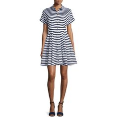 kate spade new york short-sleeve striped fit & flare shirtdress ($340) ❤ liked on Polyvore featuring dresses, cotton dress, shirt dress, long shirt dress, short shirt dress and fit and flare dress