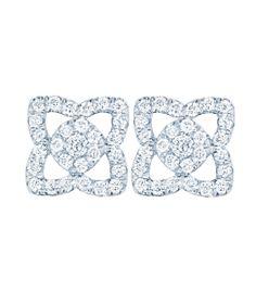 White Gold Diamond Lotus Stud Earrings - De Beers Enchanted Lotus Collection at #ShopBAZAAR