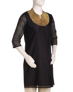 Fabindia.com | Womens Silk Cotton Chanderi Necklace Mini Kurta