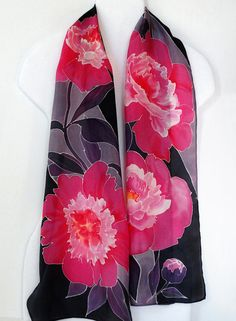 Your place to buy and sell all things handmade Fabric Painting, Fabric Art, Silk Fabric, Pink Peonies, Pink Flowers, Painted Silk, Hand Painted, Silk Art, Floral Scarf