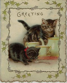 HELENA MAGUIRE VICTORIAN CHRISTMAS GREETINGS CARD PRETTY CATS EMBOSSED