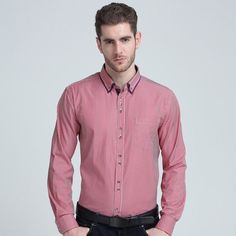 New Men Striped Shirt Long Sleeve Lapel Casual Male Shirt Slim Fit Business Dress Shirts Clothing