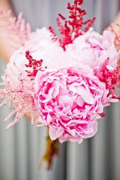 Peonies, Astilbe - great colors #wedding #bouquet #pink #flowers #white #hot-pink #blush #inspiration