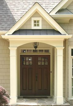 Decorating: Traditional Exterior With Traditional Double Front Doors For Homes, front doors design, Double doors with glass pattern ~ Oiprs Exterior House Colors, Exterior Design, Exterior Siding, Metal Exterior Doors, Exterior Paint Colors For House With Stone, Craftsman Exterior Door, Craftsman Porch, Craftsman Cottage, Cottage Exterior
