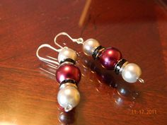 Light Gray and Maroon Glass Pearl beaded dangle earrings by gr8byz, $9.00 #circle1