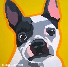 Custom 30x30 Pop Art Dog Portrait Painting by LauraKG on Etsy Boston Terrier  Laura Krushak-Green
