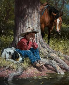 Jack Sorenson, artist and painter at Joe Wade Fine Art Cowboy Horse, Cowboy Art, Cowboy Pictures, Horse Artwork, West Art, Horses And Dogs, Le Far West, Norman Rockwell, Country Art
