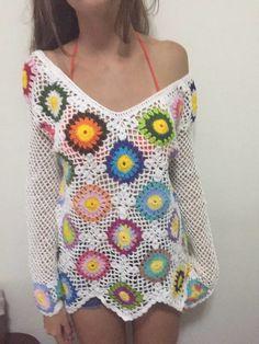 Blusa em crochê, multicolorida, estilo boho,