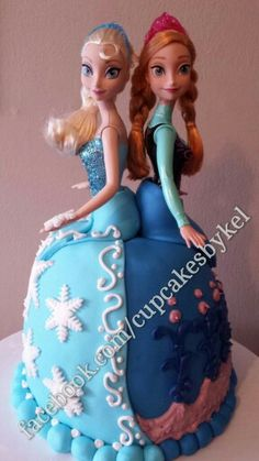 Www Facebook Com Cupcakesbykel Frozen Cake Doll Anna And Elsa