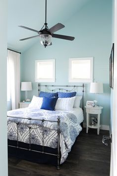 Indigo & Turquoise Summer Home Bedroom. Walls are BM Palladian Blue. Adjoins living space with BM Muslin walls. Palladian Blue Benjamin Moore, Benjamin Moore Bedroom, Palladian Blue Bedrooms, Bedroom Colors, Bedroom Decor, Bedroom Ideas, Teen Bedroom, Blue Paint Colors, Gray Paint