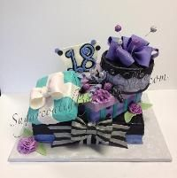 Cake Decorating: Gift box cake 18th Birthday