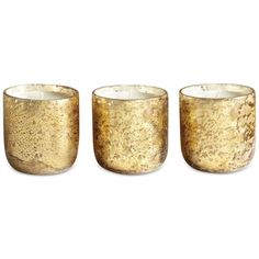 Illume Luxe Mini Sanded Mercury-Glass Candle Set ($32) ❤ liked on Polyvore featuring home, home decor, candles & candleholders, candles, fillers, decor, gold, winter white, mini scented candles and mini candles