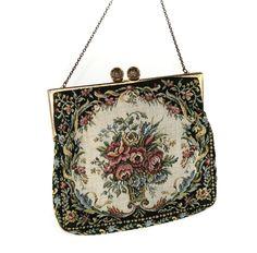 VINTAGE ANTIQUE PETIT POINT NEEDLEPOINT EVENING BAG HANDBAG PURSE MADE IN FRANCE #Handmade #Clutch