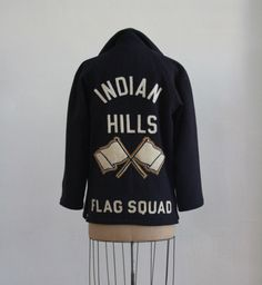 "vintage wool varsity jacket from 'Indian Hills Flag Squad' Embroidered with the name ""Nancy"" at the breast. Streetwear Mode, Streetwear Fashion, Vintage Wool, Apparel Design, Graphic Sweatshirt, T Shirt, Sport Fashion, Sportswear Brand, Street Wear"