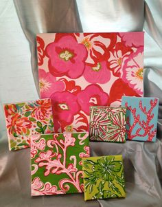 Lilly Pulitzer inspired paintings! She can do any print and any canvas size. From Etsy via sororitydrunk.blogspot.com