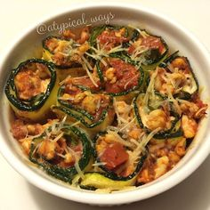 Baked Zucchini Roll ups stuffed with ground turkey, basil & fresh ...
