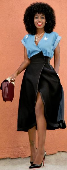 Wrap Denim Top Origami Wrap Skirt / Fashion Look by Style Pantry
