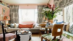 Designer Peter Dunham's apartment may be tiny but it's grand in spirit, packed with exuberant patter