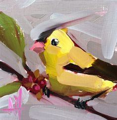 Goldfinch  no. 76 Original Bird Oil Painting by Angela Moulton