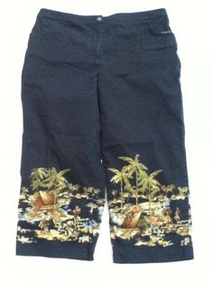 CHICO'S Black Distressed Hawaiian Tiki Party Tropical Capri Cropped Pants Size 3 #Chicos #CaprisCropped
