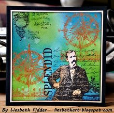 Distress Paint cards by Liesbeth Fidder using Darkroom Door 'Dashing Gents' stamp set DDRS044.