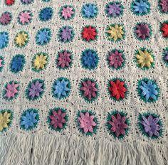 Vintage Floral Granny Square Crochet Afghan Blanket