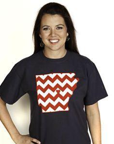 Monogrammed #Arkansas State Shirt  Red & White #Chevron on Black $38