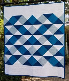 Griffin's Quilt 2 - quilt patterns Big Block Quilts, Strip Quilts, Panel Quilts, Blue Quilts, Easy Quilts, Gingham Quilt, Bright Quilts, Quilt Blocks, Quilting Projects