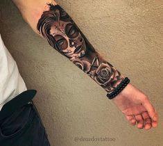 best_tattoos_ig__ - only best tattoos Sugar Skull Girl Tattoo, Skull Sleeve Tattoos, Girls With Sleeve Tattoos, Best Sleeve Tattoos, Tattoo Sleeve Designs, Arm Tattoos For Guys, Forearm Tattoo Men, Leg Tattoos, Body Art Tattoos