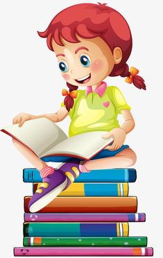 Girl reading PNG and Clipart Drawing School, School Painting, School Murals, Art School, Kids Cartoon Characters, Cartoon Girls, Girl Reading, Kids Background, School Frame