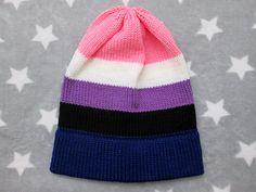 Knit Pride Hat  Genderfluid Pride  Slouchy Beanie