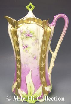 RS Prussia Flowers Gold Chocolate Pot   eBay